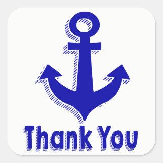 Sticker Carré Ancre nautique de bateau de bleu marine de Merci