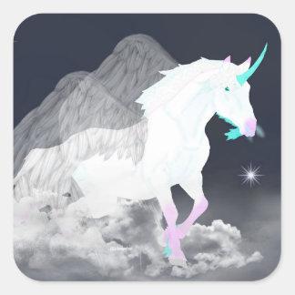 Sticker Carré Ange de licorne d'imaginaire
