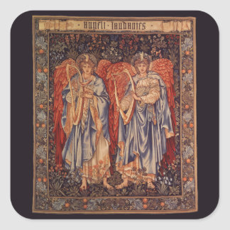 Sticker Carré Anges vintages, angélus Laudantes par Burne Jones