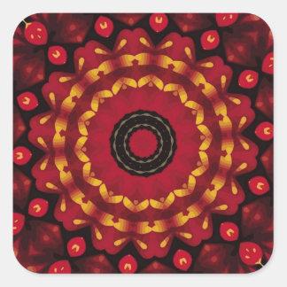 Sticker Carré Anneaux d'or sur le mandala rouge