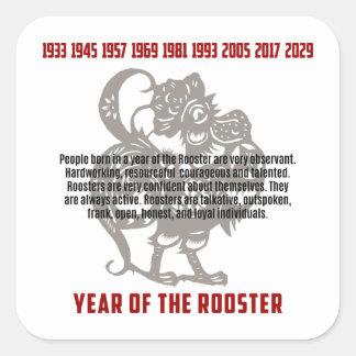 Sticker Carré Année des traits de coq