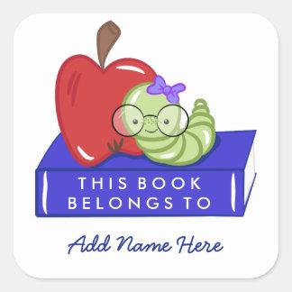 Sticker Carré Apple et le rat de bibliothèque ce livre