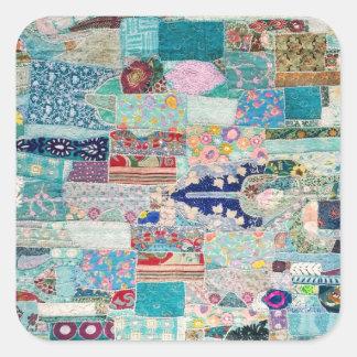 Sticker Carré Aqua et conception bleue de tapisserie d'édredon
