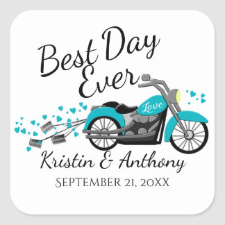 Sticker Carré Aqua et gris de mariage de moto
