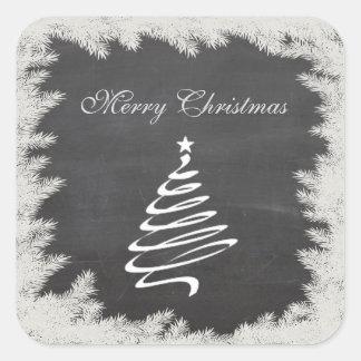 Sticker Carré Arbre de Noël moderne à la mode de tableau d'hiver