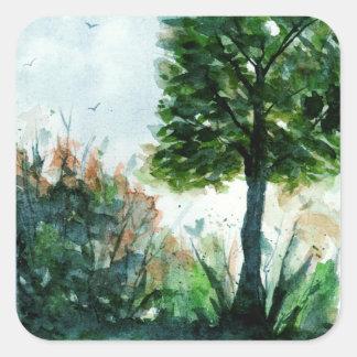 Sticker Carré Arbre d'été de nature d'art de paysage d'aquarelle