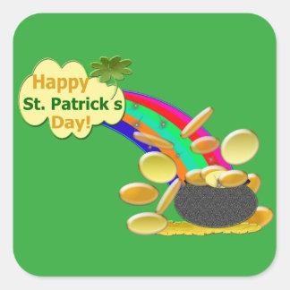 Sticker Carré Arc-en-ciel du jour de St Patrick heureux