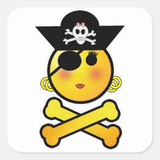 Sticker Carré ARRGH ! Smiley - pirate d'émoticône de fille