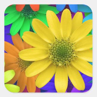 Sticker Carré Arrière - plan coloré de fleurs