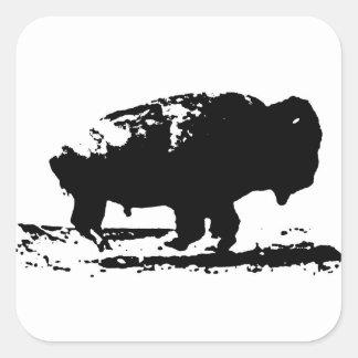 Sticker Carré Art de bruit courant de bison de Buffalo