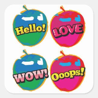 Sticker Carré Art de bruit rose d'Apple d'amour comique de wow