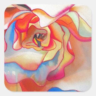 Sticker Carré Art de couleur pour aquarelle de bégonia de Fred