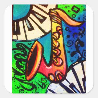 Sticker Carré Art de musique de saxo
