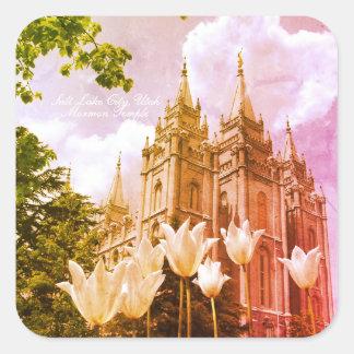 Sticker Carré Art de temple mormon de Salt Lake City, Utah