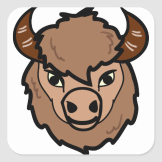 Sticker Carré art de visage de bison
