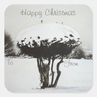 Sticker Carré Art d'original de scène de neige de paysage de