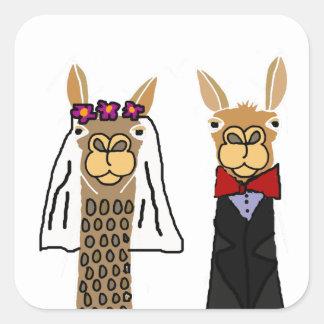 Sticker Carré Art drôle de mariage de jeunes mariés de lama