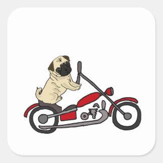Sticker Carré Art drôle de moto d'équitation de chien de carlin