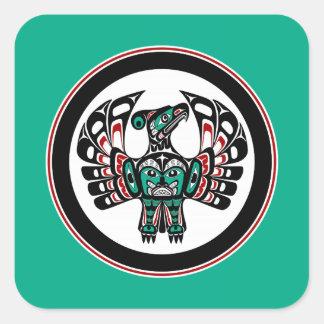 Sticker Carré Art du nord-ouest Thunderbird de Haida de Côte