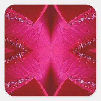 Sticker Carré Art pur de pétale de rose - n rouge sang PinkRose