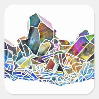 Sticker Carré Aura en cristal curative d'arc-en-ciel d'art de