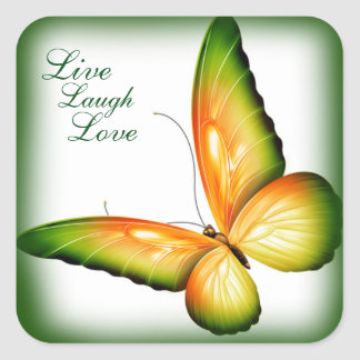 Sticker Carré Autocollant/papillon avec amour vivant de rire