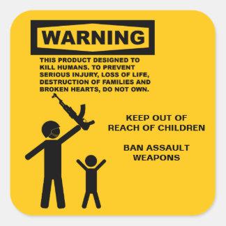 Sticker Carré Avertissement d'arme d'assaut