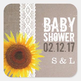 Sticker Carré Baby shower de dentelle de toile de jute et de