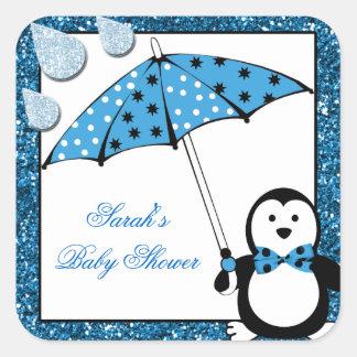 Sticker Carré Baby shower de garçon de pingouin de griffonnage