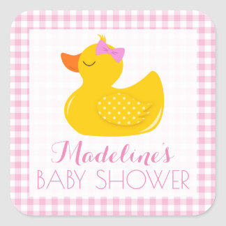 Sticker Carré Baby shower mignon en caoutchouc
