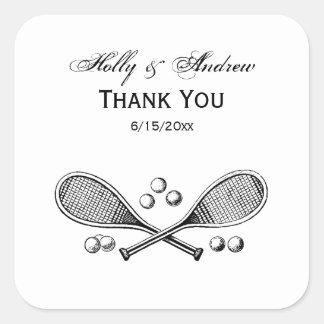 Sticker Carré Balles de tennis croisées par cru de raquettes de