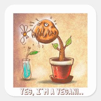Sticker Carré bande dessinée drôle de plante végétarien