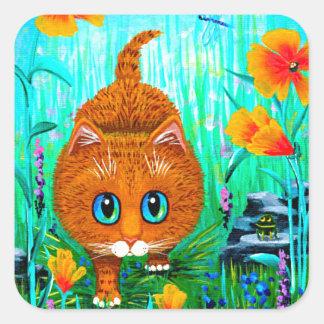 Sticker Carré Bande dessinée tigrée orange Creationarts de chat