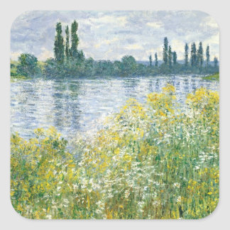 Sticker Carré Banques de Claude Monet | de la Seine, Vetheuil,
