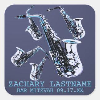 Sticker Carré Barre Mitzvah de saxophone