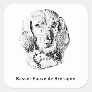 Sticker Carré Basset Fauve de la Bretagne Drawing