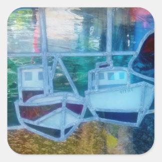 Sticker Carré Bateau de pêche en verre souillé chez Cadgwith les