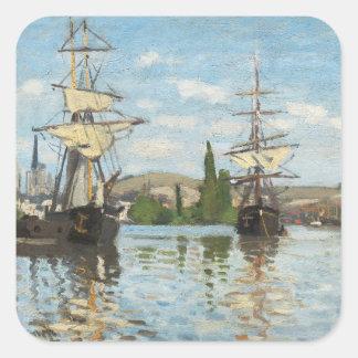 Sticker Carré Bateaux de Claude Monet | montant sur la Seine à