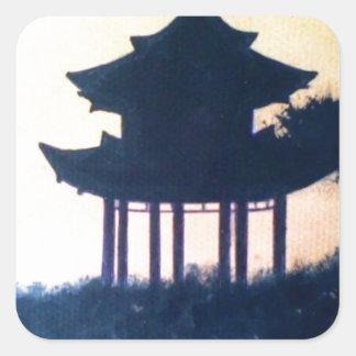 Sticker Carré Beau paysage de paysage d'art de silhouette de