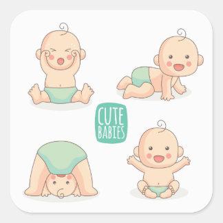 Sticker Carré Bébés mignons