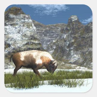 Sticker Carré Bison dans la montagne