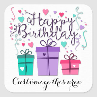 Sticker Carré Boîtes-cadeau de joyeux anniversaire sur la