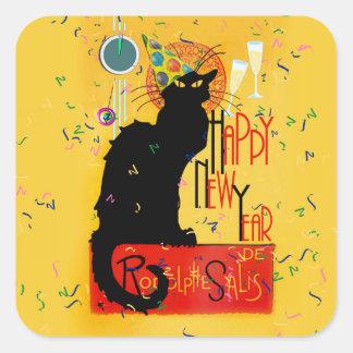 Sticker Carré Bonne année Noir de conversation