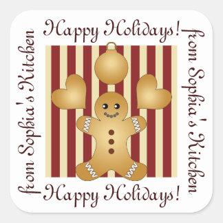 Sticker Carré Bonnes fêtes - bande dessinée de biscuit de Noël