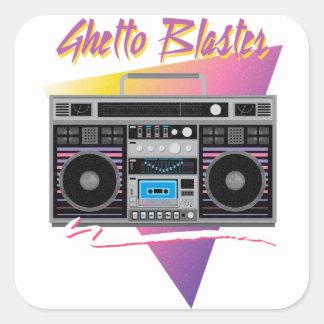 Sticker Carré boombox de sableuse de ghetto des années 1980