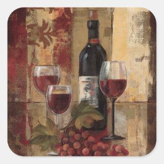 Sticker Carré Bouteille de vin et verres de vin