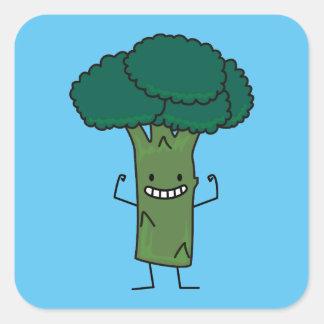 Sticker Carré Brocoli fléchissant le légume heureux de vert de
