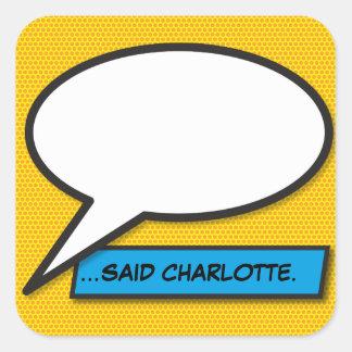 Sticker Carré Bulle personnalisée de la parole d'art de bruit de