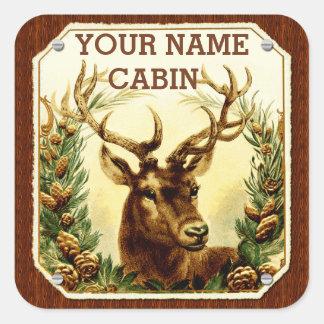 Sticker Carré Cabine de cerfs communs personnalisé avec le grain