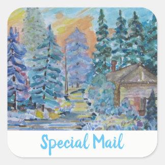 Sticker Carré Cabine spécial de courrier dans la scène d'hiver